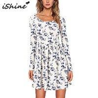 IShine Hot Sale Autumn Winter Women Long Sleeve Printed Short Dress Robe Women Casual O Neck