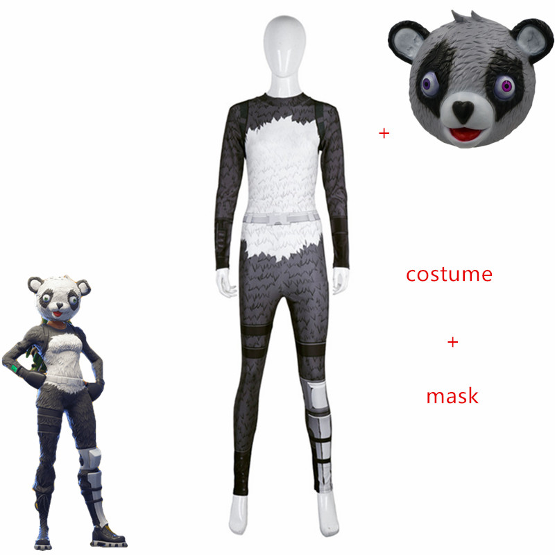 Adult sexy game Women panda Costumes Cosplay set  Escape kill game Animal clothing set fashionable mask P.A.N.D.A. Team Leader