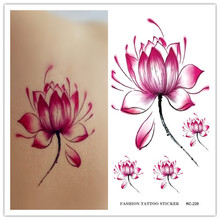 RC2228 Waterproof Disposable Tattoo Stickers Fresh Water Lily Flower Floral Pattern Temporary Tattoo Sticker For Women