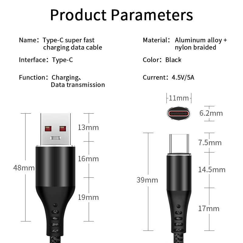 5A Telepon Kabel untuk Xiaomi Tipe C 6 6X8 Se Mix 2 3 5X5 S ksiomi Charger Adaptor Xiomi Xaomi 5 S Plus 5C Super Cepat Line