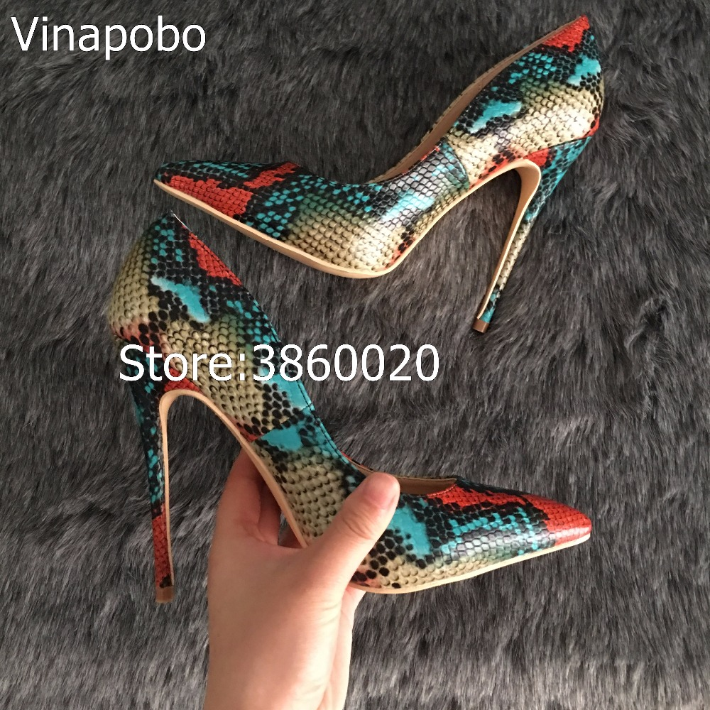 Vinapobo <font><b>Top</b></font> <font><b>Quality</b></font> 12CM <font><b>Heel</b></font> Height Wedding Party <font><b>Women</b></font> <font><b>Shoes</b></font> <font><b>2018</b></font> Fashion <font><b>Sexy</b></font> <font><b>Women</b></font> <font><b>Pumps</b></font> Red Snake Pointed Toe <font><b>High</b></font> <font><b>Heels</b></font> image