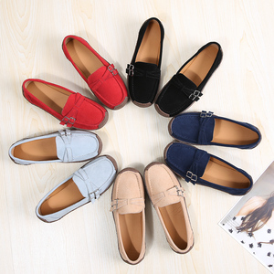 Image 5 - EOFK wiosna jesień kobiety mokasyny zamszowe mieszkania kwadratowe Toe wygodne buty wsuwane jesień Casual Apricot mokasyny Lady