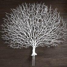 Sztuczny koral oddział fałszywe gałęzie drzewa suszone rośliny biała roślina dekoracja ślubna domu LBShipping