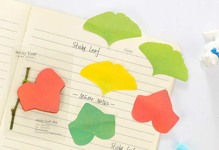 4pcs Creative Simulation Ginkgo Leaves Sticky Notes N Times Self-Adhesive Memo Pad Post It School Office Supply