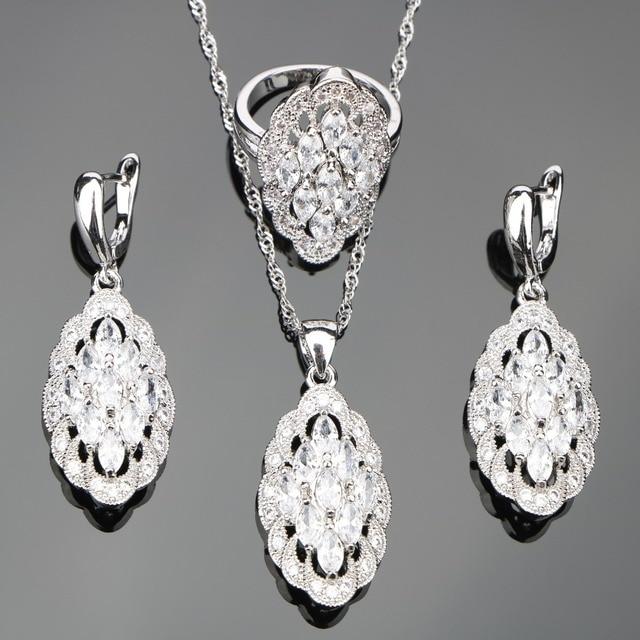 Weiß Zirkon Silber 925 Kostüm Brautschmuck Sets Frauen Hochzeit Steine Ohrringe Anhänger Halskette Ringe Set Schmuck Geschenk-box