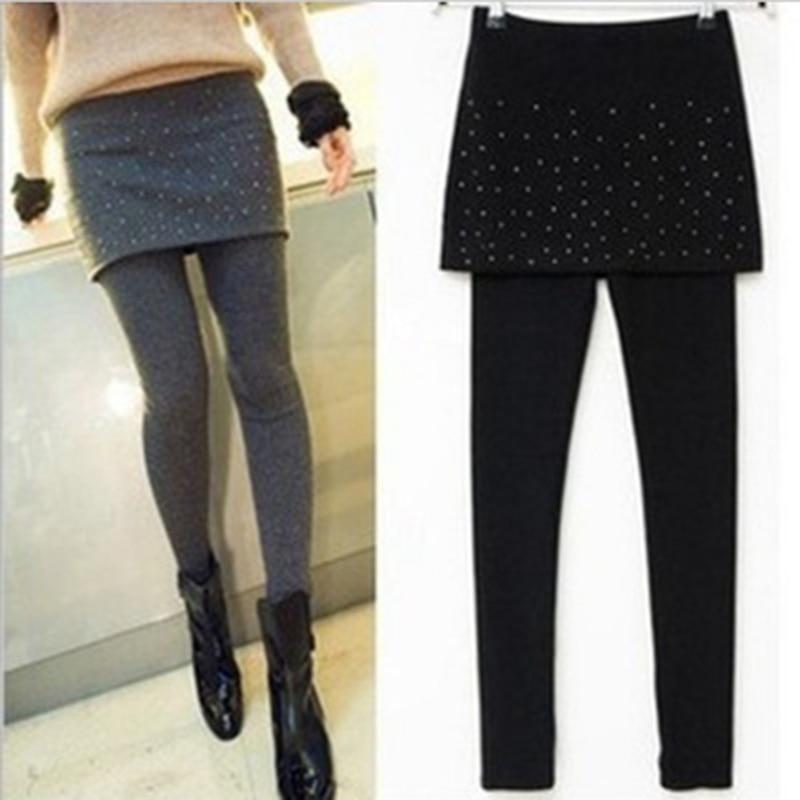 Autumn Winter Women Warm Leggings Fashion Pleated Stretchy Ankle-Length Leggins Female Skirt Leggings Trousers