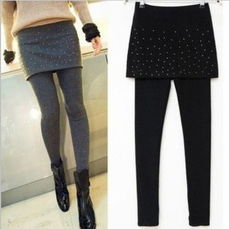 Autumn Winter Women Warm   Leggings   Fashion Pleated Stretchy Ankle-Length Leggins Female Skirt   Leggings   trousers