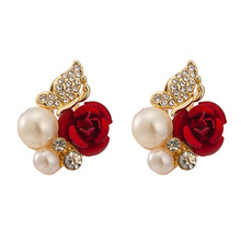 2015 Hot Sale Newest Arrival Red Rose Cubic Zirconia Faux Pearl Alloy Ear Stud Earrings Eardrop Jewelry Gift
