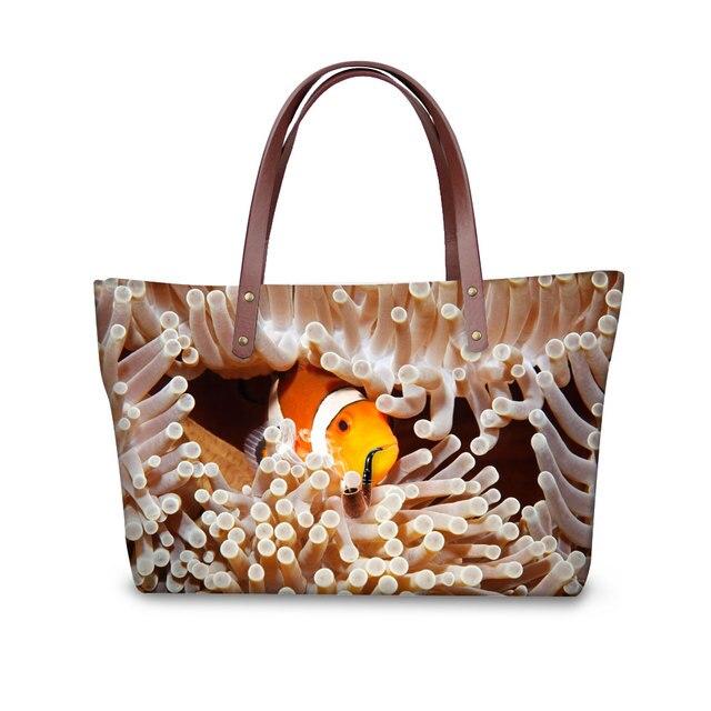 25ede5e0aed9 Designer Women Tote Bag Casual Large Shoulder Bags for Ladies Ocean Cute  Clownfish Print Women Handbag