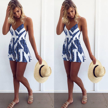Stylish Women clothes Summer V-neck Geometry Sleeveless Backless Evening Party cotton Sexy Playsuits one pieces black deep v neck sleeveless backless zip design playsuits