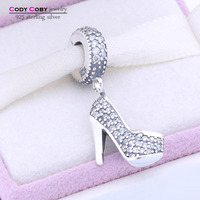 Original Stilettos Floating Locket Charms Beads Fit Pandora Bracelets High Heel Shoe 925 Sterling Silver Charm