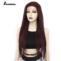 ANOGOL Long Burgundy Glueless Braided Synthetic Lace Front Wigs Twist Braids For Afro Black Women Daily Wear 26 Inch