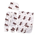 Cute Toddler Newborn Infant Baby Blanket Reindeer Swaddle Wrap Cute Pants+Hat+Blanket 3PCS Set