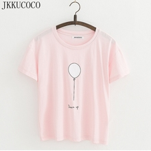 JKKUCOCO 2017 Tops Hot Women T shirt Dream up balloon Cotton T-shirt Women t shirt Short Sleeve O-neck Casual t-shirts 2 Color