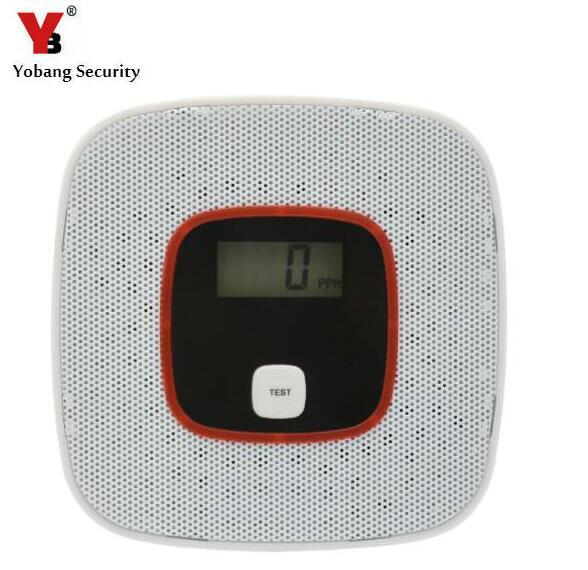 Yobang seguridad CO detector de seguridad para el hogar alarma de seguridad LCD fotoeléctrico Sensor de Gas CO monóxido de carbono envenenamiento alarma del Detector
