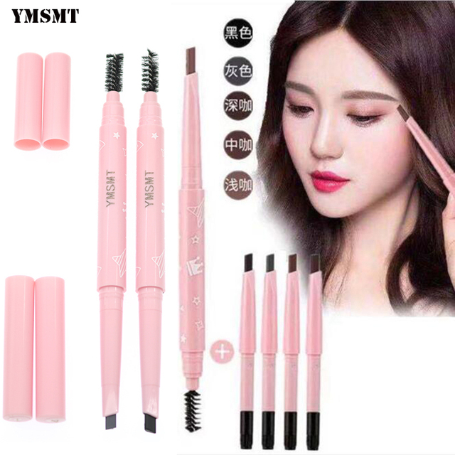 YMSMT Double Eyebrow Pencil Waterproof And Sweatproof Not Bleaching Lasting Not Blooming Roaring Thrush Artifact 5 Color Optiona 1