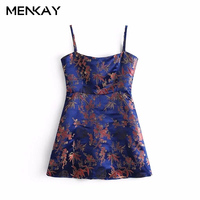 MENKAY European And American Style 2018 Spring New Fashion Wild Carved Tang Suit Print Sling