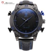 Kitefin shark reloj deportivo azul led luz trasera auto fecha display digital al aire libre de los hombres de cuarzo correa de cuero relojes militares/sh265