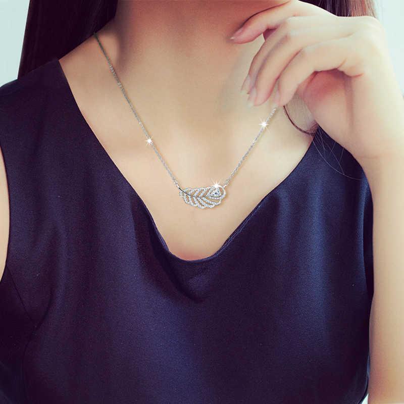 Melek Arayan 100% 925 Ayar Gümüş kolye ve kolye Yaprak AAA Zirkon Kolye Zincir Kolye 18 inç kadınlar için CYD018