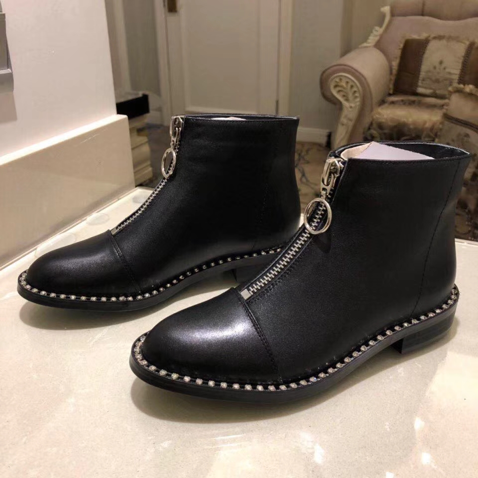and autumn leather ankle boots ladies round head rhinestone platform Martin boots ladies luxury front zipper boots Zapatos Mujerand autumn leather ankle boots ladies round head rhinestone platform Martin boots ladies luxury front zipper boots Zapatos Mujer