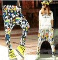 2016 Mujeres Pantalones Emoji Pantalones Cintura Elástico de La Danza Hip Hop Harem Pantalones Mujer pantalones de Chándal de Dibujos Animados en 3D Impreso Pantalones