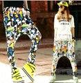 2016 Mulheres Calças Emoji Calças Cintura Elástica Sweatpants Dança Hip Hop Harem Pants Calças Mulheres Calças Impressas Dos Desenhos Animados 3D