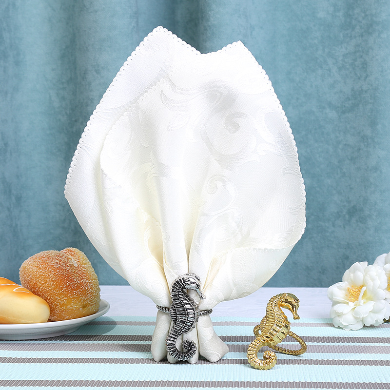 12 PCS seahorse napkin ring mouth cloth ring model room villa table napkin buckle decoration home