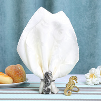 12/PCS seahorse napkin ring, mouth cloth ring, model room, villa, table napkin buckle, decoration, home decoration To report