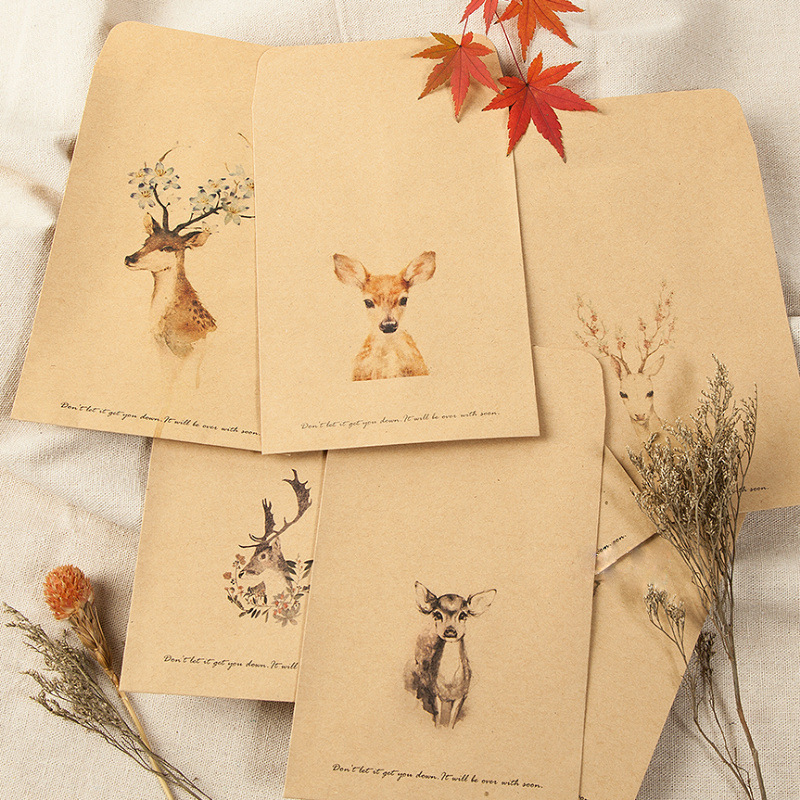20 Pcs/lot Deer Paper Envelope Designs Cute Mini Envelopes Vintage European Style For Card Scrapbooking Gift Free Shipping