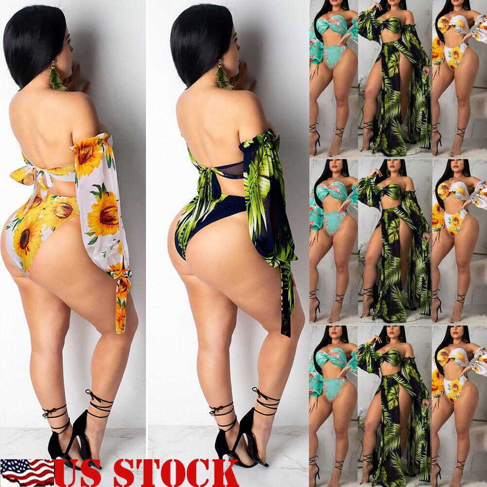 Hirigin Bikini 2019 Swimwear Women Floral Print 3PCS High Waist Push up Padded Bra Bandage Bikini Set Swimsuit Swimwear Bathing in Bikinis Set from Sports Entertainment