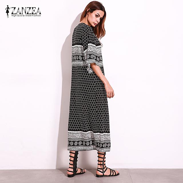 2018 ZANZEA Boho Women Half Sleeve Vintage Floral Print Open Front Long Cardigan Beach Party Casual Summer Kimono Coat Plus Size