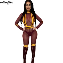 2018 Summer Style Sexy One Piece Bodycon Bodysuit For Women Striped Ribbons Patchwork Mesh Bandage Jumpsuit Perspective Clubwear