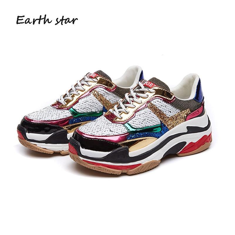 EARTH STAR/Новая модная брендовая обувь для девочек на осень, женские блестящие кроссовки с перекрестной шнуровкой и блестками, женская обувь на...
