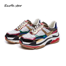 EARTH STAR Autumn Girl New Fashion Brand Shoes Women Glitter Sneakers Cross-tied Sequins Lady Platform Bling Breathable