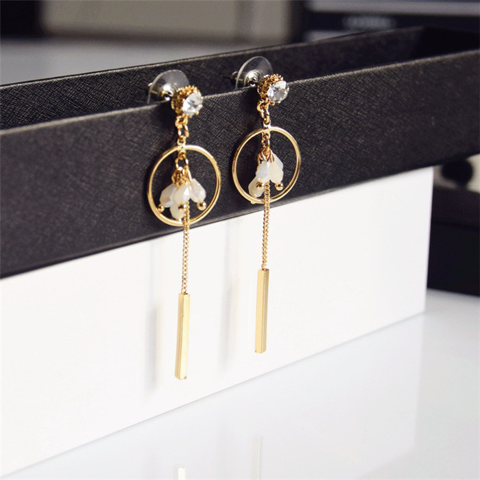Hot New Fashion White Crystal Circle dangle earrings Women Tassel Drop Earrings Gold For Women Jewelry Gift