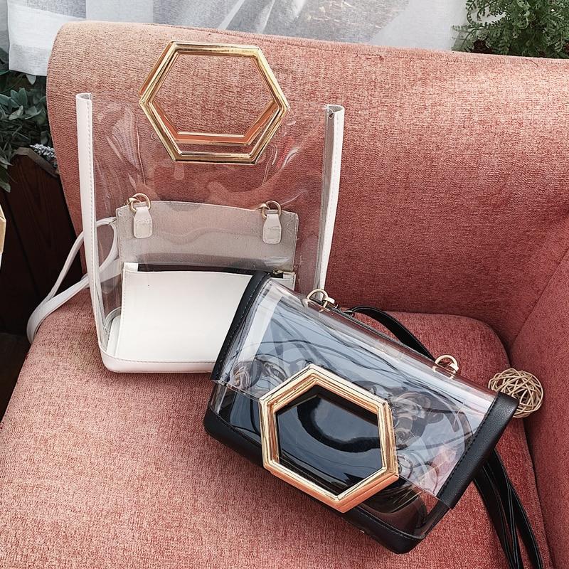 Transparent Tote Bag 2019 Summer Fashion New High Quality PVC Women's Designer Handbag Beach Travel Bag Shoulder Messenger Bag