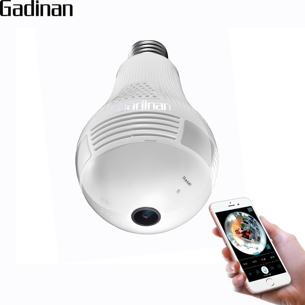 GADINAN 1080P 2.0MP Night Vision Bulb Light Wireless IP Camera Wi-Fi FishEye 360 degrees CCTV 3D VR AI Panoramic Home Security eazzy bc 688 bulb cctv security dvr camera auto control light and recording motion dection night vision circular storage