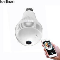 GADINAN 1080P 2 0MP Night Vision Bulb Light Wireless IP Camera Wi Fi FishEye 360 Degrees