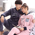 onesie  men and women in autumn and winter thick Flannel Suit Size cardigan coral fleece Home Furnishing long sleeved clothes