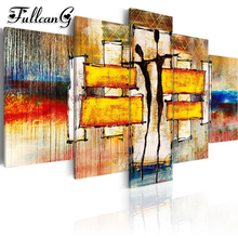 FULLCANG diy 5 pieces diamond painting abstract dancer picture full square/round drill 5d mosaic embroidery kit home decor FC847