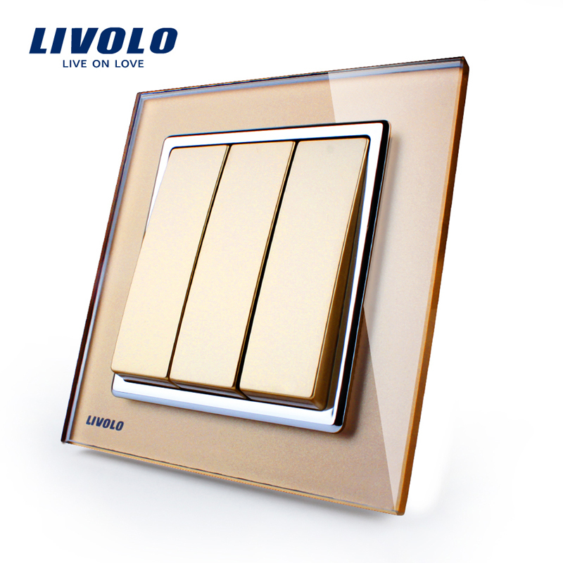 Livolo UK standard New Wall Light Switch,  Golden Glass Panel, AC 110~250V ,3Gang 1 Way Push Putton Switch  ,VL-W2K3-13 funry uk standard 1 gang 1 way smart wall switch crystal glass panel touch switch ac 110 250v 1000w for light