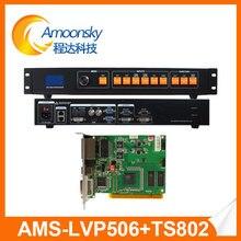 Ams lvp506 controlador processador de vídeo wall com linsn ts802d cartão para display led fixo