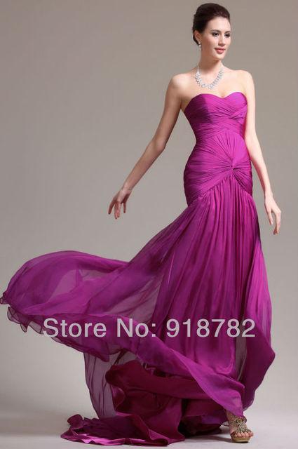 wholesale 2014 New Beautiful Purple Long Dress Mermaid Pleat Formal ...