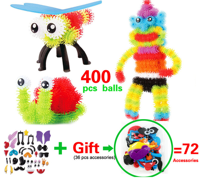 400pcs Educational Assembling 3D Puzzle Kids Toys DIY Puff Ball Squeezed Variety Shape Creative Handmade Toy Puzzle For Children