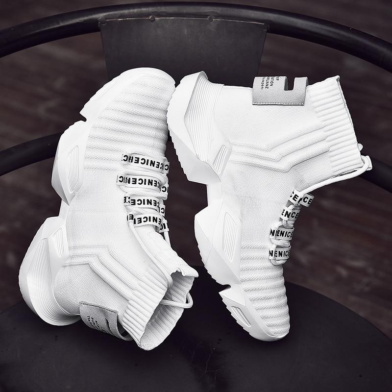 Летние высокие кроссовки; мужская Трикотажная Повседневная обувь; Мужская обувь белого и черного цвета; Zapatos De Hombre; дышащие не сужающиеся книзу кроссовки; обувь для папы