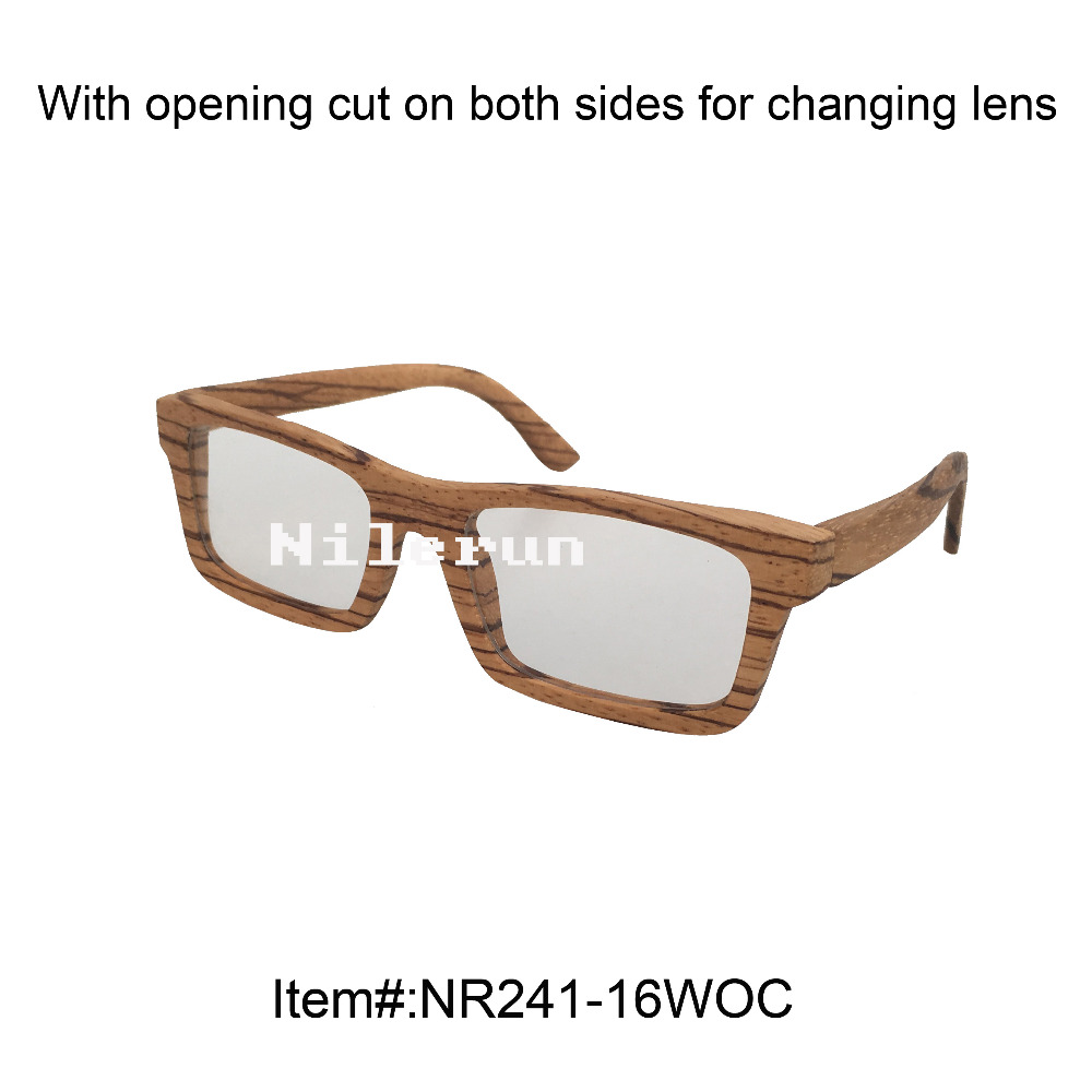 rectangle zebra wood optical eyeglasses with clear plain lenses and opening cut