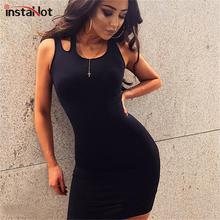 InstaHot Black Red Fitted Slim Dress Casual Women Summer Sleeveless Tank Dress Party Club Sexy Stretchy Streetwear Mini Dresses