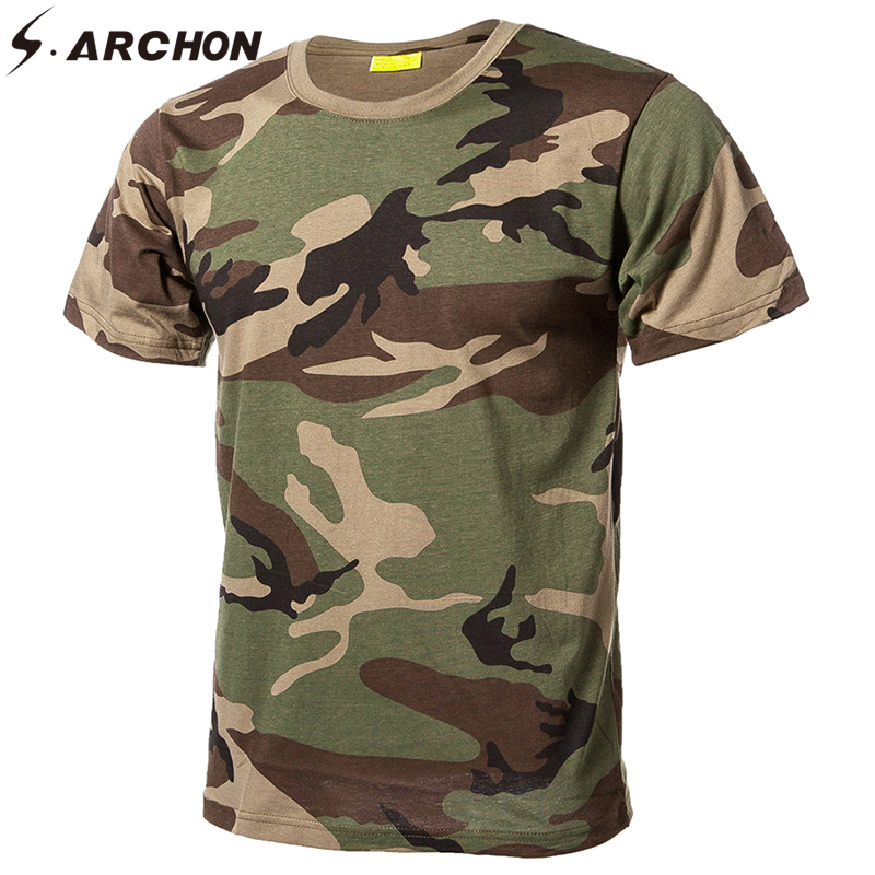 S.ARCHON Military Camouflage Qucik Dry Cotton T Shirt Men Casual O Neck Tactical T shirt Summer Breathable Short Sleeve T Shirt