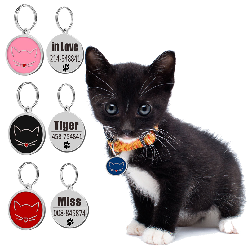 Stainless Steel  Personalized Dog Cat Id Tags Dog Cat Accessories Custom Cats Kittten Puppy Name Tag Phone For Dog Cat Collar