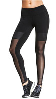 See Through Net Legging Dancing Pants Breathable Mesh Leather Patch Trousers Yoga Pants